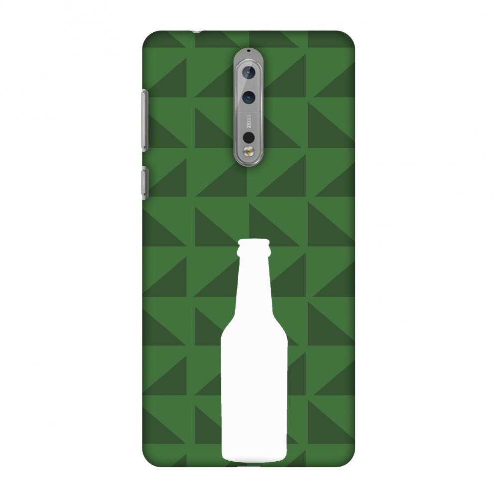 Nokia 8 Case, Premium Handcrafted Printed Designer Hard ShockProof Case Back Cover with Screen Cleaning Kit for Nokia 8 - Beer and pattern - Green