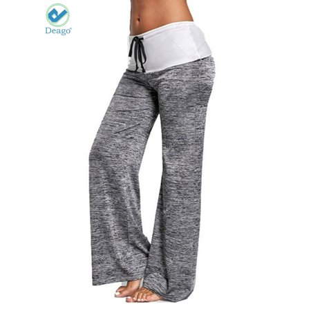 e7de910e49 Deago - Deago Women's Loose Yoga Pants Elastic High Waist Drawstring wide  leg Pants Straight-Leg Training Workout Sport Trousers - Walmart.com