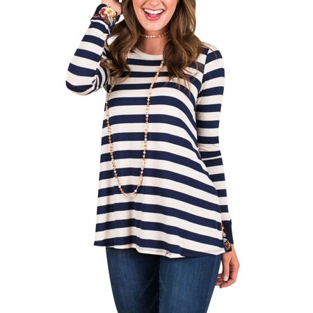711ONLINESTORE Women c Stripe Long Sleeves Shirts Floral Splice Tunics