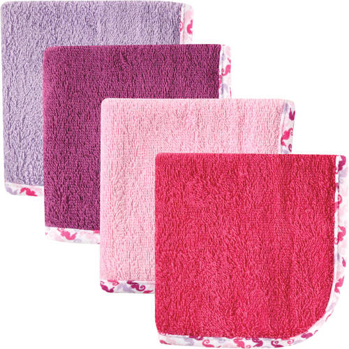 Hudson Baby Print Woven Washcloth, 4pk, Girl, Choose Your Color