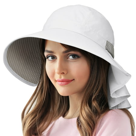 Sun Protection Hats for Women Hiking Garden Safari w/ Flap Neck Cover Wide Brim