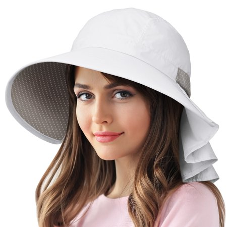Candy Pink Sun Hat - Sun Protection Hats for Women Hiking Garden Safari w/ Flap Neck Cover Wide Brim