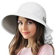 Sun Protection Hats for Women Hiking Garden Safari w/ Flap Neck Cover Wide Brim