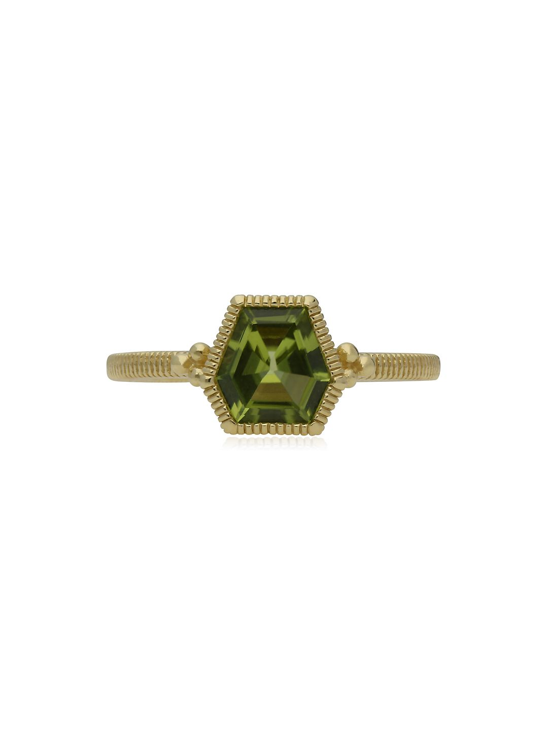 Boca Kite Shape Peridot and 14K Yellow Gold Stack Ring