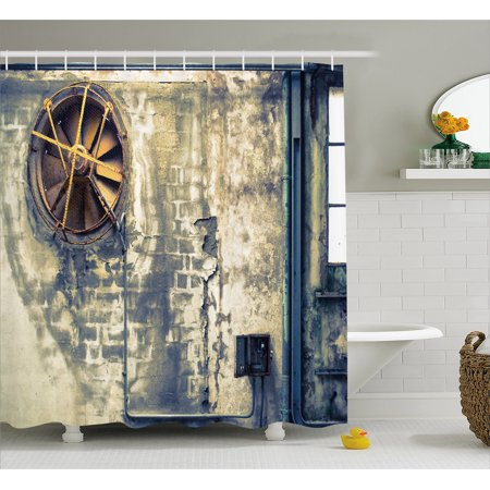 Vandalism Set (Industrial Decor Shower Curtain, Damaged Wrecked Wall Image Destruction Vandalism Broken Deserted Workplace, Fabric Bathroom Set with Hooks, 69W X 84L Inches Extra Long, Multicolor, by Ambesonne)
