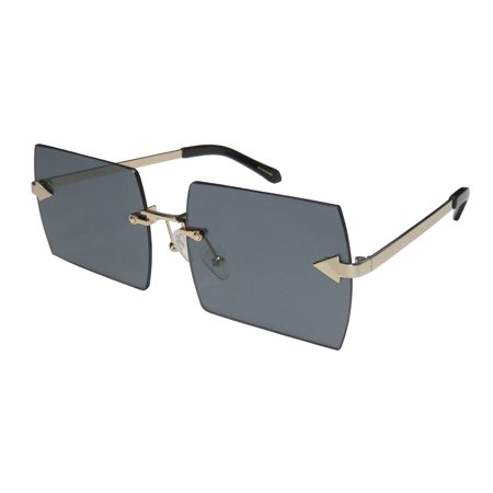 New Karen Walker The Bird Womens/Ladies Rectangular Rimless 100% UVA & UVB Gold Glamorous Gorgeous Red Carpet Style Upscale Frame Black Lenses 58-16-140