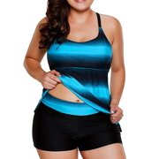 Women Plus Size Bathing Suits, Color Block Striped Tankini Swimsuits with Boyshorts Swimwear