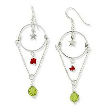 Sterling Silver Chandelier Style Hoop and Star, Red and Green Crystal Hook Earrings Multi Crystal Chandelier Earrings