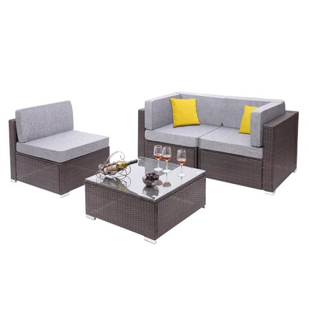 SEGAMRT 4 Pieces Outdoor Sectional Patio Furniture Clearance, 3 Seater Luxury Comfort Waterproof Wicker Couch with Grey Cushions, Conversation Set with 2 Pillows for Backyard Poolside Garden, S7659 ()