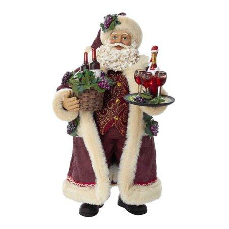 Kurt Adler 11.5-Inch Fabriché Santa with Wine Basket