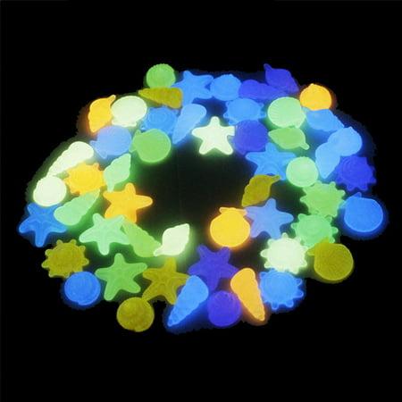 30pcs/Bag DIY Home Decor Luminous Sea Conch Shell Starfish Colorful Glow in Dark Pebbles Rocks Stone for Aquarium Fish Tank