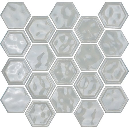"Thomas Avenue Ceramics 12""x12"" Glazed Ceramic Hexagon Mosaic Wall/Backsplash Tile - Light Grey"