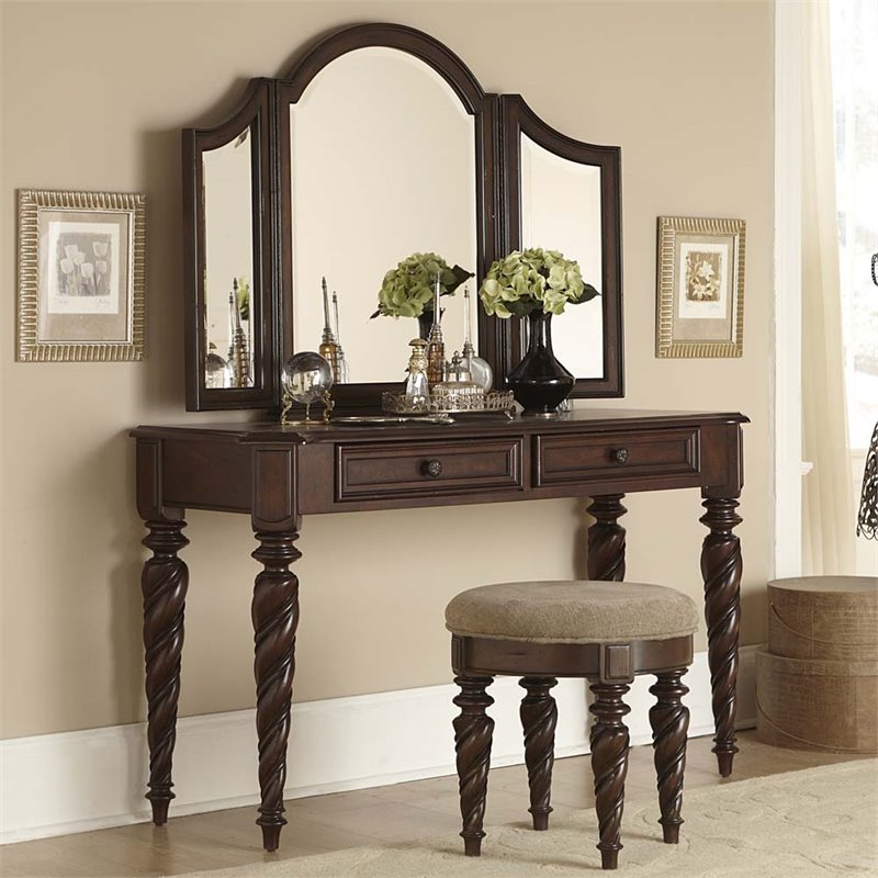 Liberty Furniture Arbor Place 3 Piece Bedroom Vanity Set in Brownstone