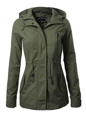 c5fcb1096f5d Product Image Made by Olivia Women s Military Anorak Safari Hoodie Jacket  Olive 2XL