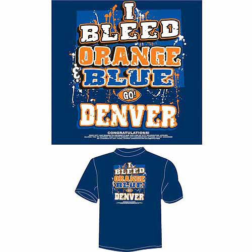 "Denver Football ""I Bleed Orange and Blue, Go Denver"" T-Shirt, Blue"