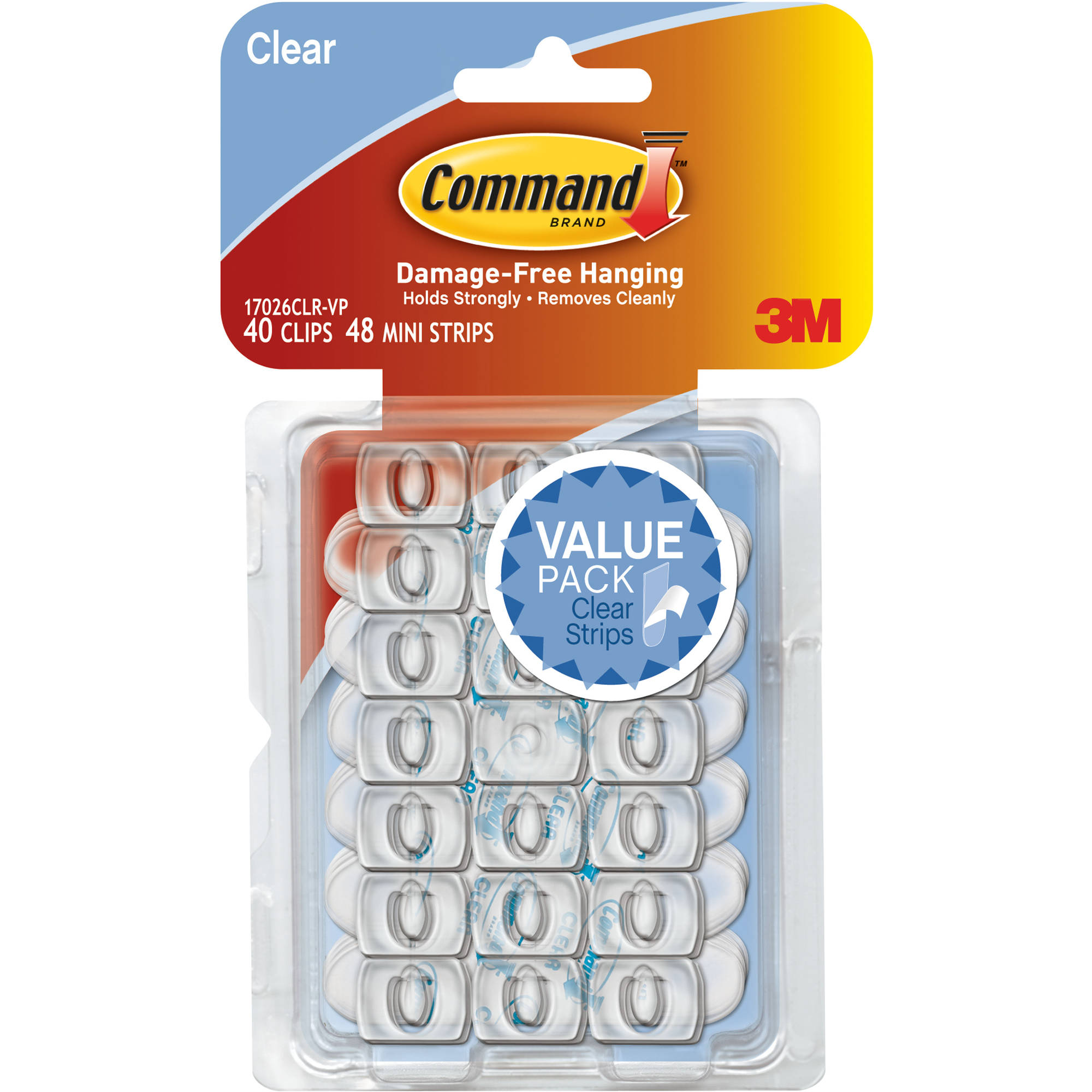 Command Decorating Clips Value Pack, Clear, 40 Clips, 48 Strips/Pack