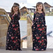 Mother and Daughter Casual Boho Floral Maxi Dress Mommy Me Matching Outfits