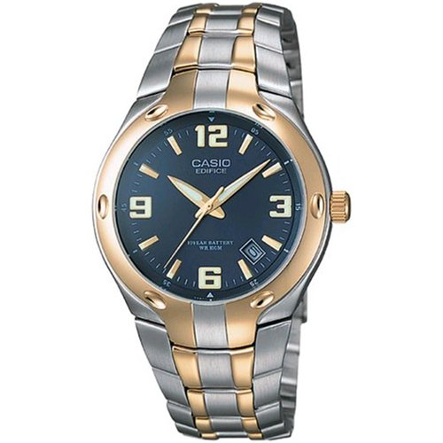 Casio Men's Edifice 10-Year Battery Analog Watch, Two-Tone Stainless Steel