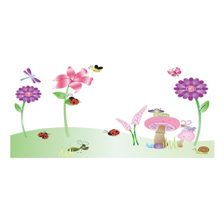 Insects Wallpaper (Mushroom Flower Insect Pattern Removable Wall Sticker Wallpaper)