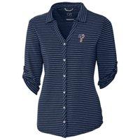 Philadelphia Phillies Cutter & Buck Women's Academy Stripe 3/4 Sleeve Button-Up Shirt - Navy