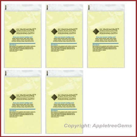 5 Polishing Cloths for Sterling Silver, Gold, Brass and Copper Jewelry  Polishing Cloth, Quantity- 5 polishing cloths  By Sunshine