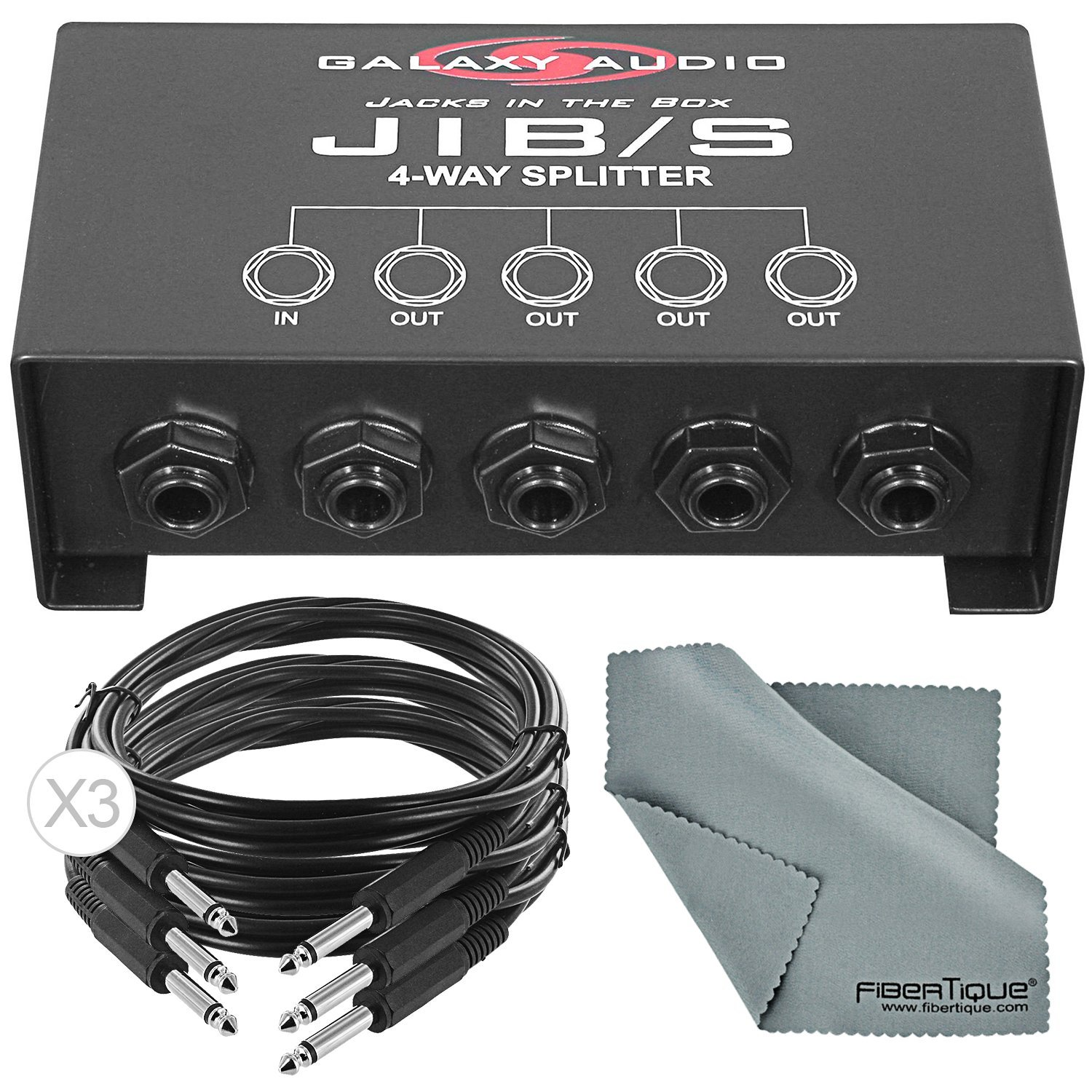 Galaxy Audio JIB/S Jack In The Box Signal Splitter with Cable and Fibertique Cloth Bundle