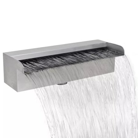 Rectangular Waterfall Pool Fountain Stainless Steel 11.8
