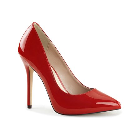 Womens Red High Heels Pointed Toe Shoes 5 Inch Pumps Closed Toe Hidden - Closed Toe Heels