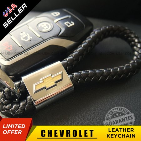 Chevrolet Black Leather Metal Keychain Logo Emblem Decoration Gift Accessories