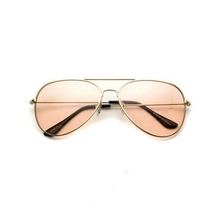 WearMe Pro - Classic Aviator Style Metal Frame Sunglasses Colored (Colored Aviators)