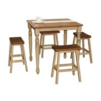 Quails Run 5-Pc Pub Dining Set in Almond and Wheat Finish
