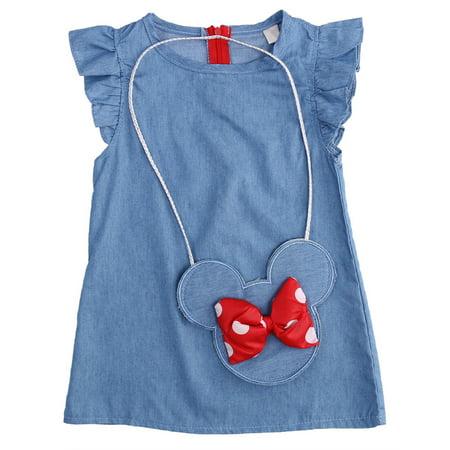 Baby Girl Dress Ruffle Sleeve Shabby Denim Cross Body Coin Bag 2 pcs Set (4T)