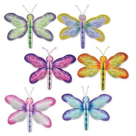Club Pack of 12 Nylon Dragonflies Spring/Summer Hanging Decorations - Sparkle Dragonfly Nylon Hanging