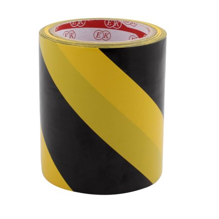120mm x 17M PVC Striped Floor Boundary Marking Warning Tap Black Yellow - image 1 de 2