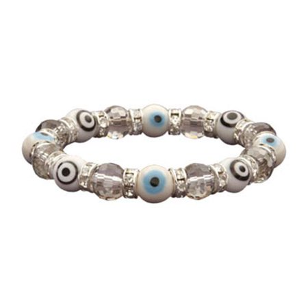 BLUE-BEE-11 Evil Eye Gorgeous Glass Bracelets - Diamond and Teal