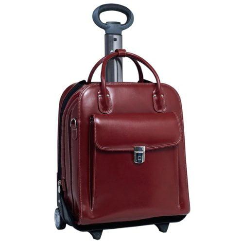 """McKleinUSA La Grange W Series 96496 Vertical Detachable-Wheeled Ladies' Briefcase - Briefcase - Shoulder Strap, Hand Strap, Handle15.4"""" Screen Support - Leather - Red - McKlein"""