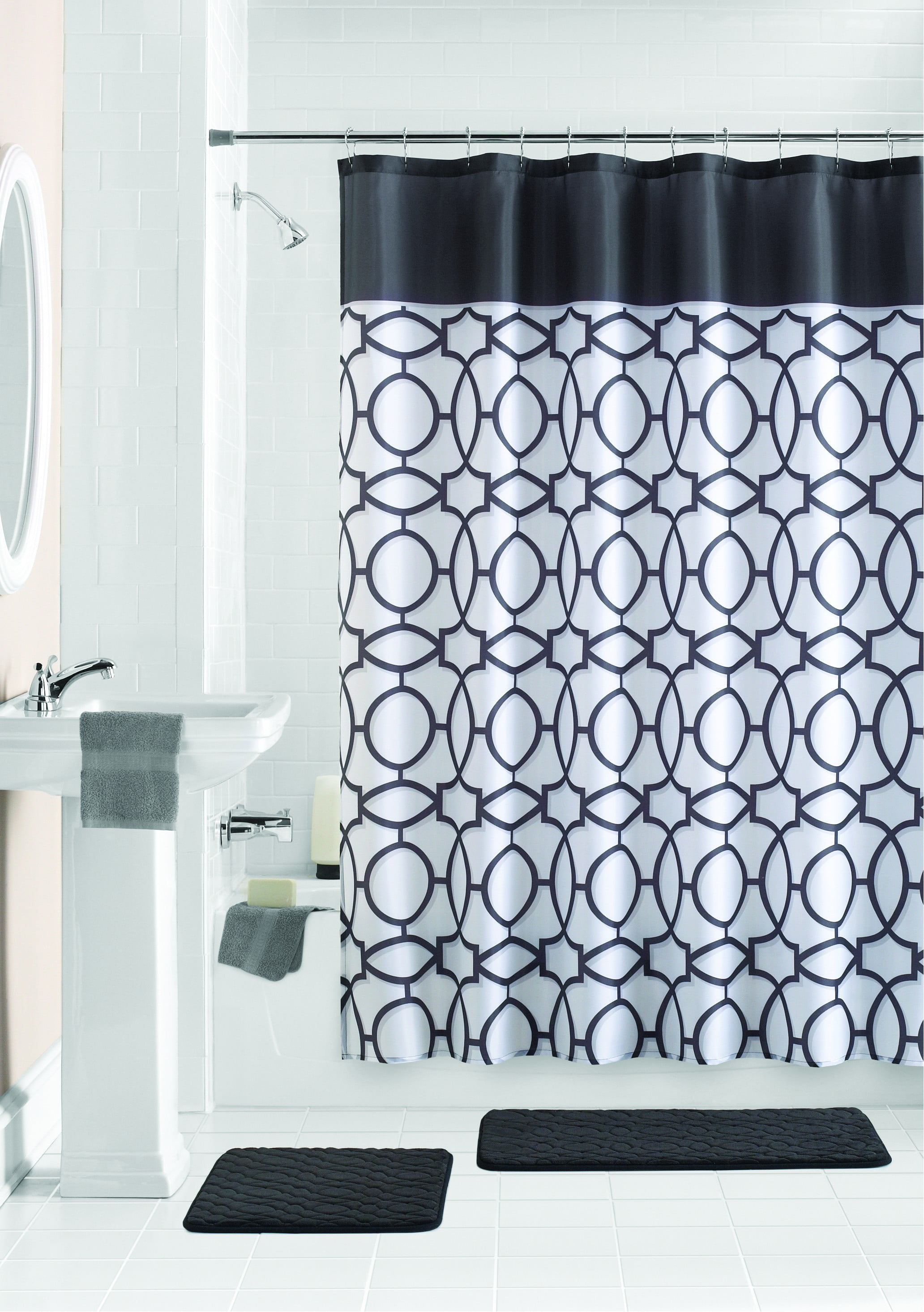 Mainstays Geometric Shower Curtain Bath Set 15 Piece