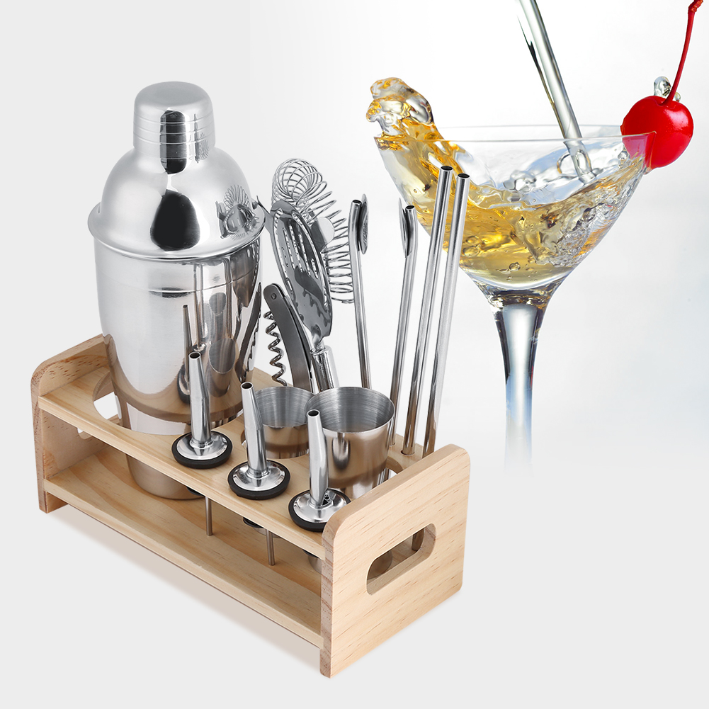 12 Pcs Bar Tools & Accessories Cocktail Shaker Mixer Stainless Steel Drink Bartender Martini Tools Bar Set Kit