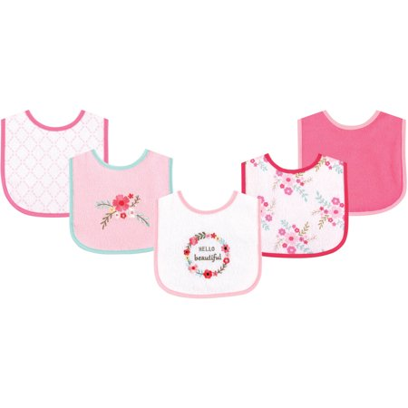Luvable Friends Baby Boy and Girl Drooler Bib with PEVA Back, 5-Pack - Floral