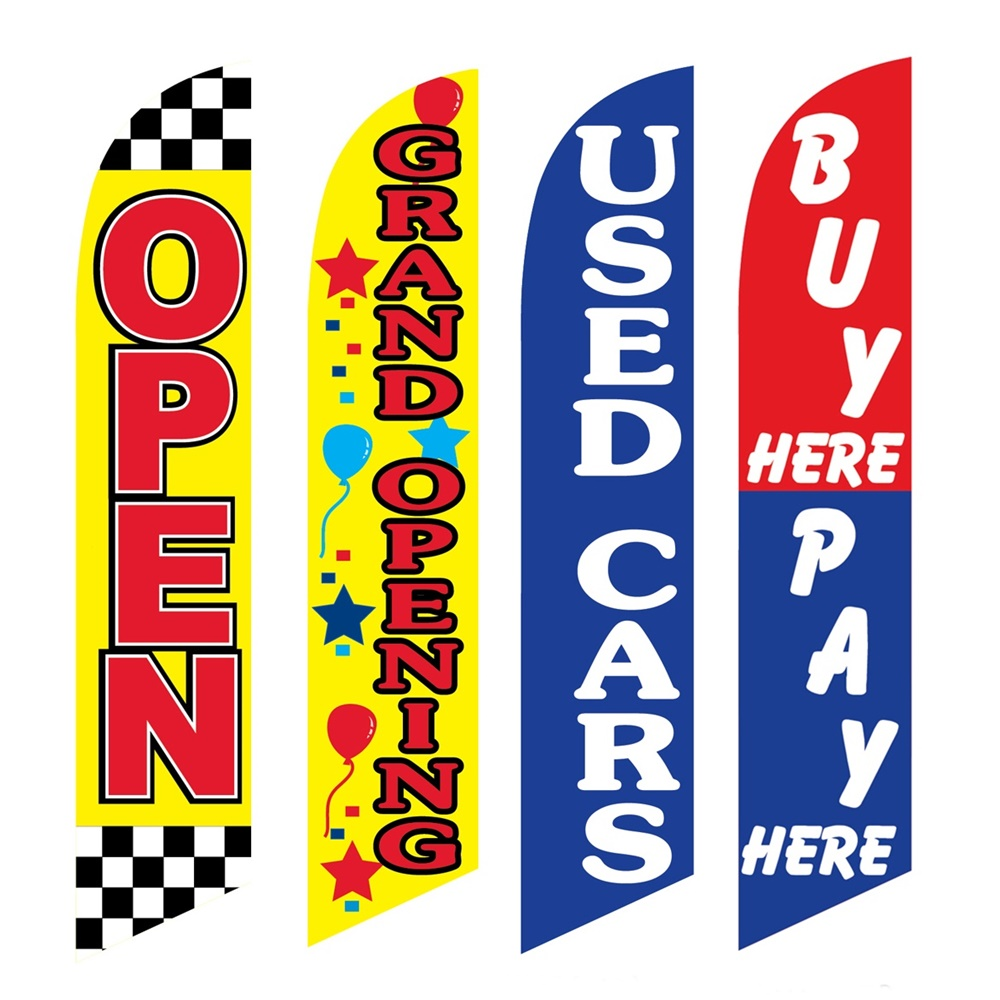4 Advertising Swooper Flags Open Grand Opening Used Cars Buy Pay Here