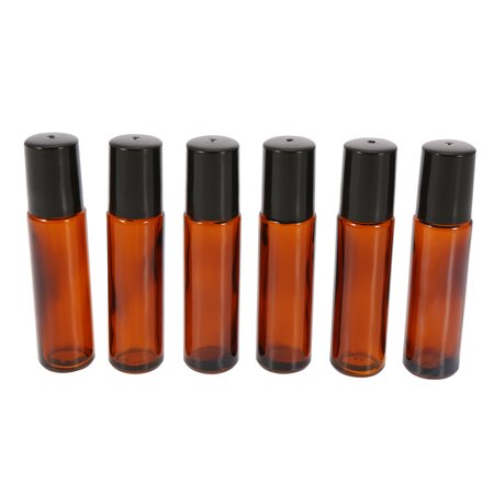 10ml Amber Glass Roll-on Bottles Essential Oil Jar Stainless Steel Roller Ball 2ml Dropper 6Pcs ()