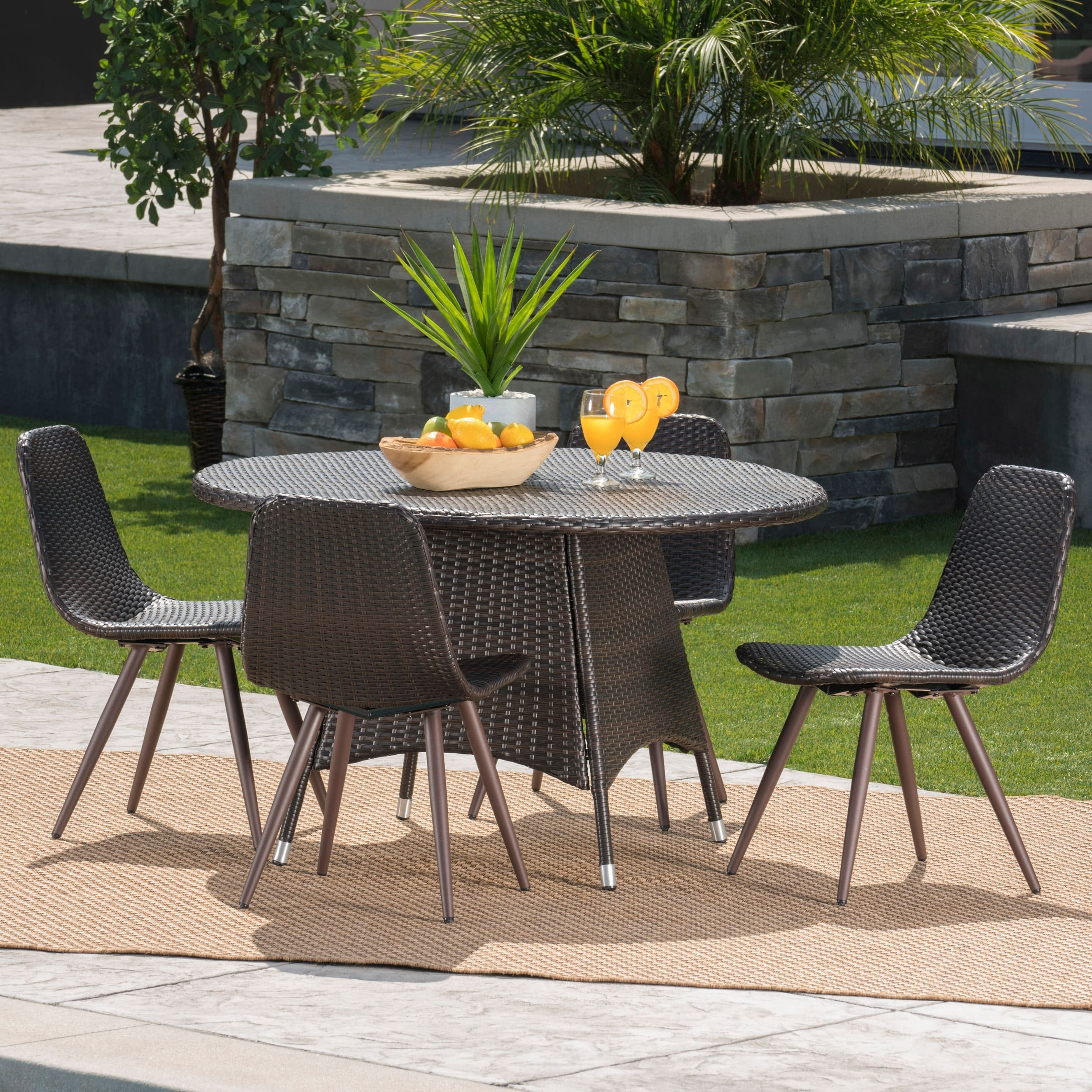 Christopher Knight Home Hugo Outdoor 5-Piece Round Wicker Dining Set with Umbrella Hole by