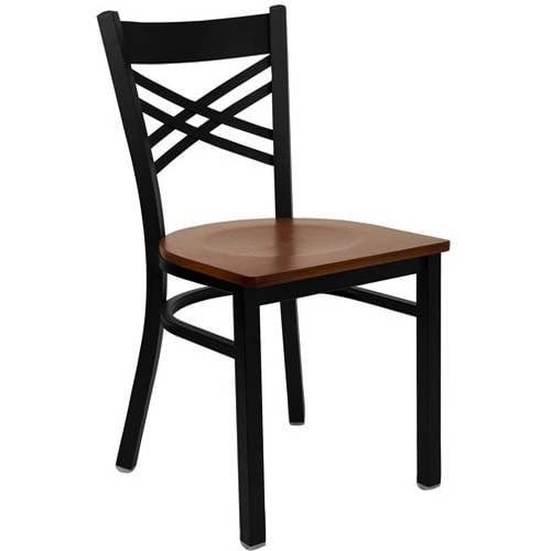 Flash Furniture X-Back Chairs - Set of 2, Black Metal / Cherry Wood Seat