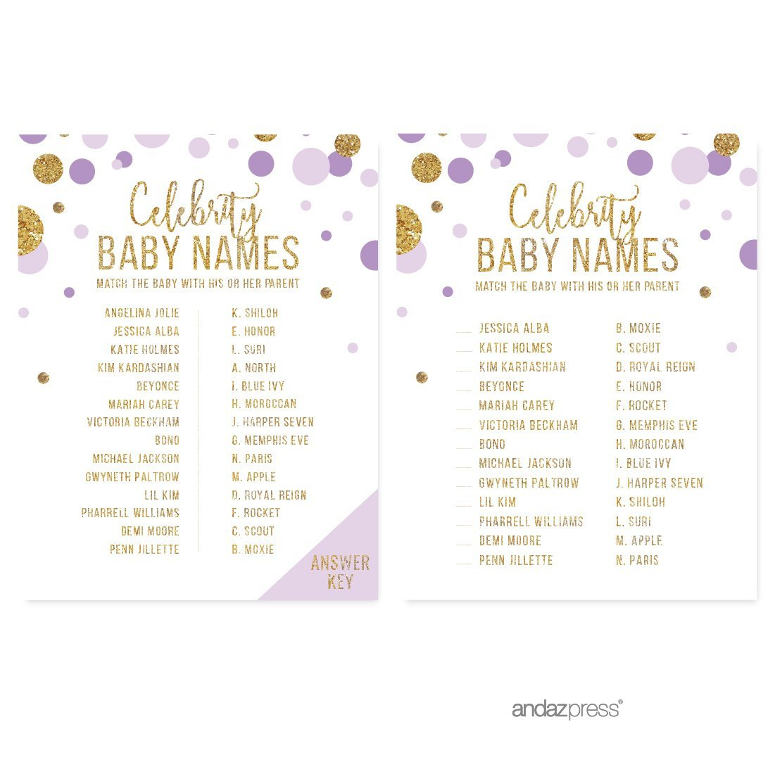 Celebrity Name Game  Lavender Gold Glitter Baby Shower Games, 20-Pack