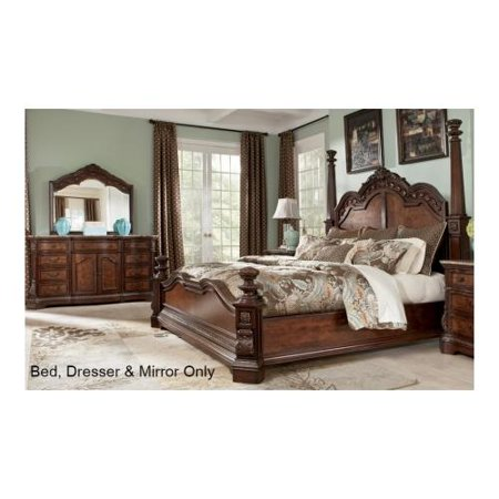 Ashley B7055171983136 Ledelle Collection Queen Size Poster Bed With Dresser M