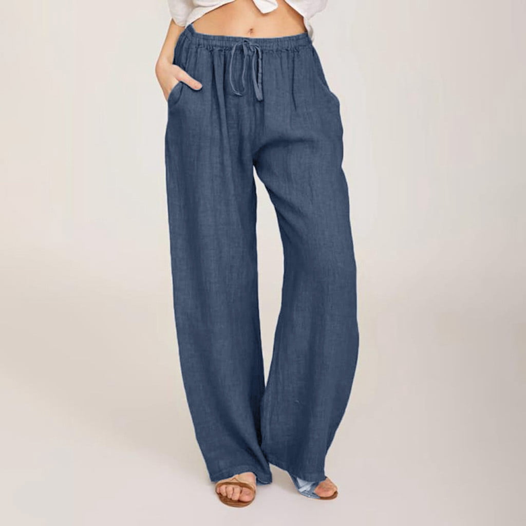 Lghxlxry Womens Casual Cotton Linen Wide Leg Loose Elastic Waist Drawstring Pants with Pockets Natural Tag S
