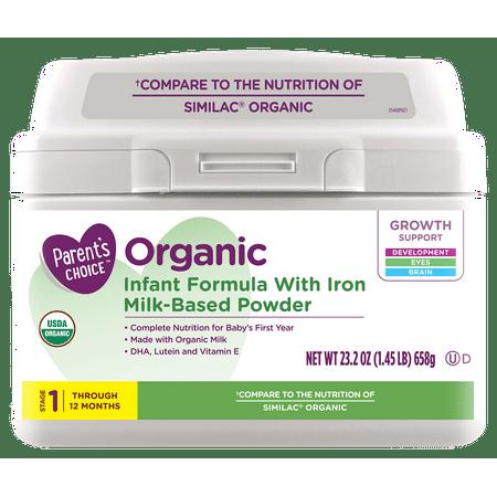 Parent's Choice Organic Infant Formula With Iron, 23.2 oz
