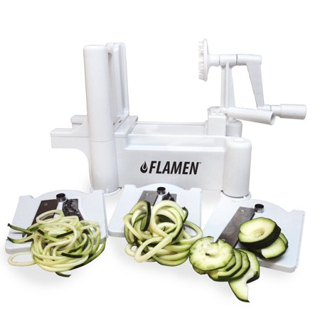 Flamen Spiralizer Hot sale Vegetable Slicer, Strongest Heaviest Duty Kitchen Tools Veggie Spaghetti Pasta Salad Maker for Healthy Low Carb/Paleo/Gluten-Free Meals with Cleaning Brush - Halloween Spaghetti Salad