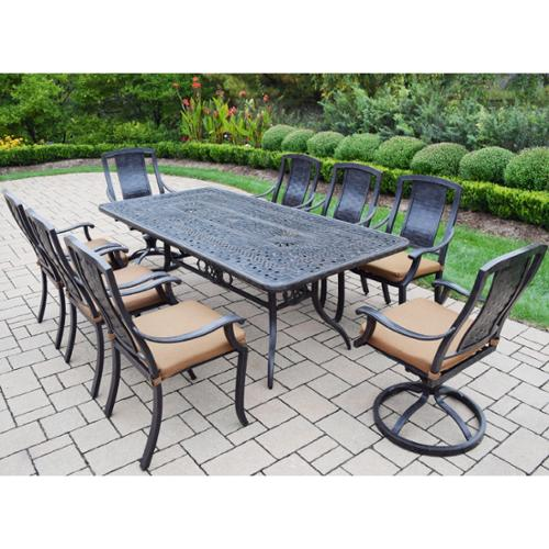 Oakland Living Corporation Sunbrella Aluminum 9-piece Dining Set Includes Table 6 Stackable Chairs 2 Swivel Rockers with Sunbrella Cushions