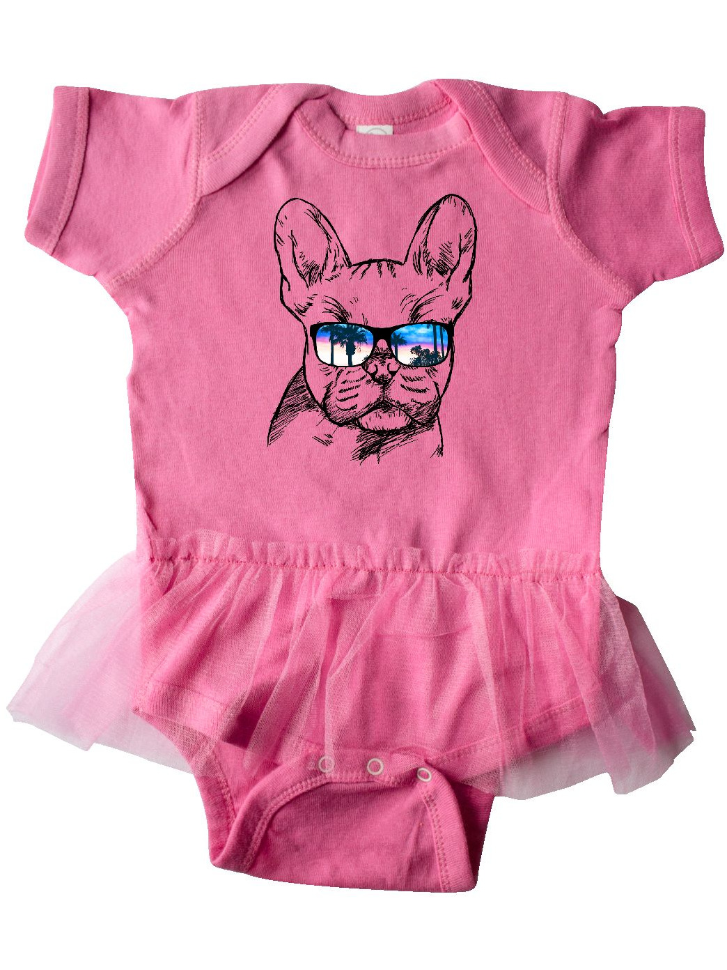 Inktastic French Bulldog Portrait With Sunglasses Infant Tutu Bodysuit Pets Dog